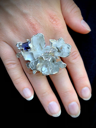 Silver Petal Burst Ring with Iolite