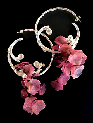 Silver Floral Baroque Earrings
