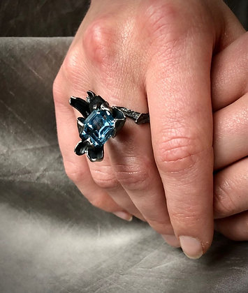 Oxidised Silver Ring with Sky Blue Topaz