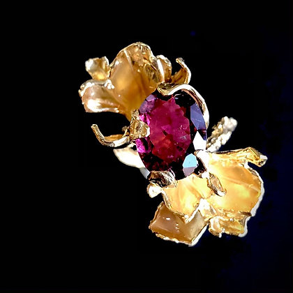 Gold Petal Ring with Red/Pink Tourmaline
