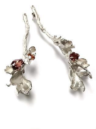 Silver petal drop earrings