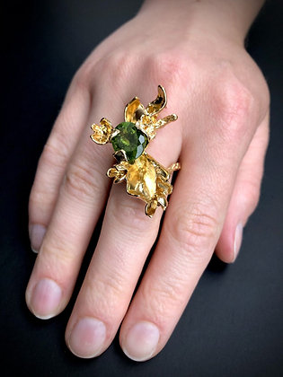 Gold Petal Ring with Green Tourmaline
