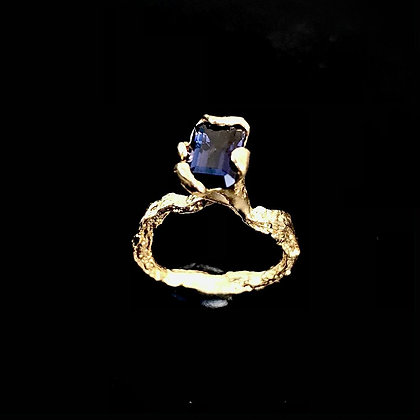 Iolite Solitaire Ring