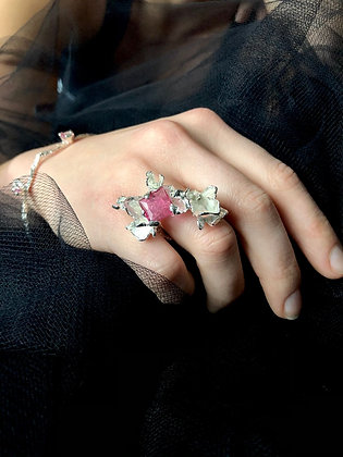 Silver Petal Ring with Pink Tourmaline