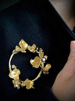 Gold Floriate Brooch with a Ruby and Diamond