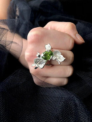 Silver Petal Ring with Green Tourmaline