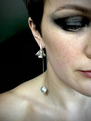 Silver Petal Earrings with Detachable Pearl Drop