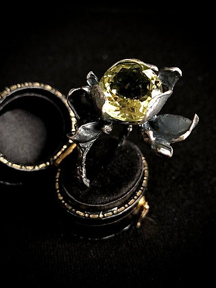 Oxidised Silver Ring with Lemon Quartz