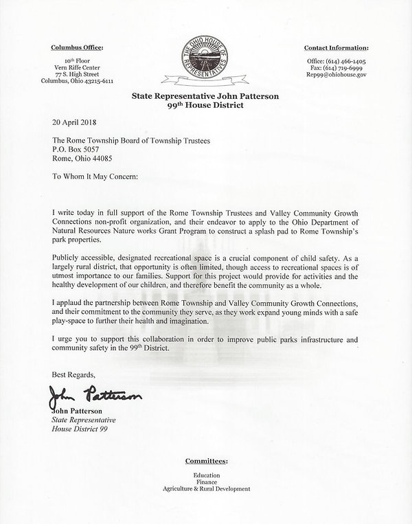 State Representative John Patterson Ohio House District 99 support letter for Rome Township splash pad
