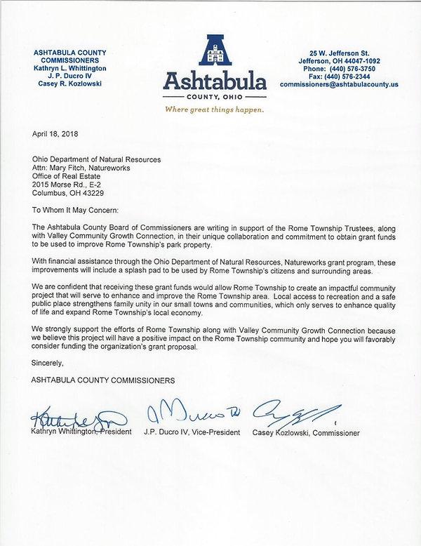 Ashtabula County Commissioners Kathryn Whittington, President J.P. Ducro IV, Vice President Casey Kozlowski, Commissioner support letter for Rome Township splash pad