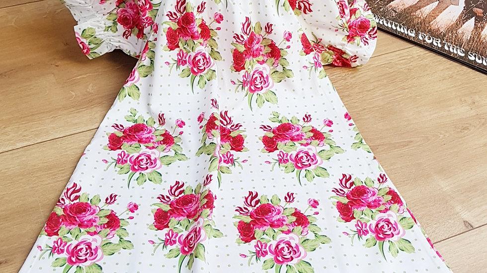 White flowered hippie dress