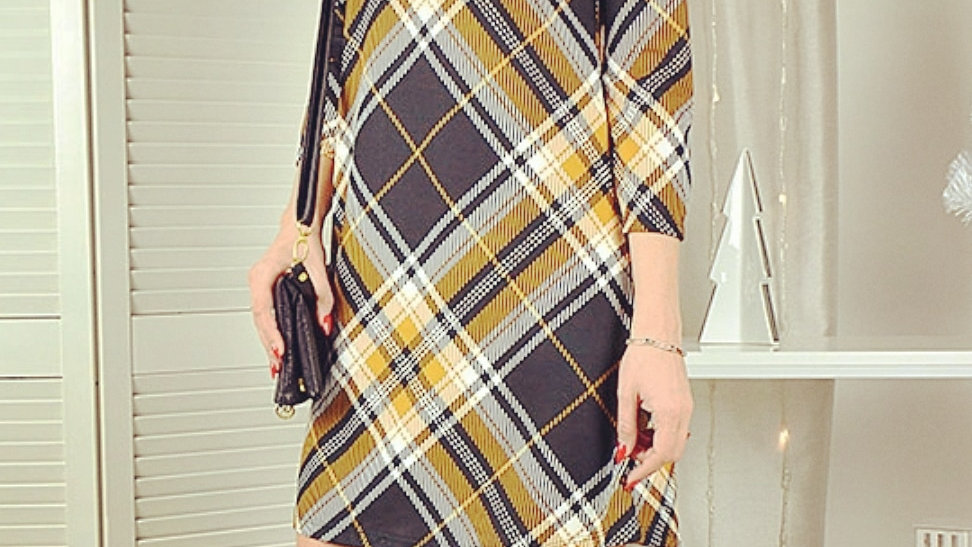 Vintage checked trapeze silhouette dress