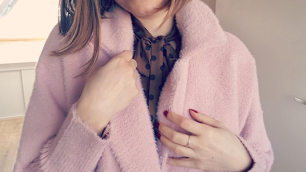 Powder rose alpaca coat