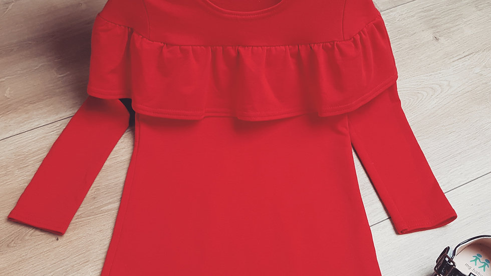 Red retro thick cotton dress