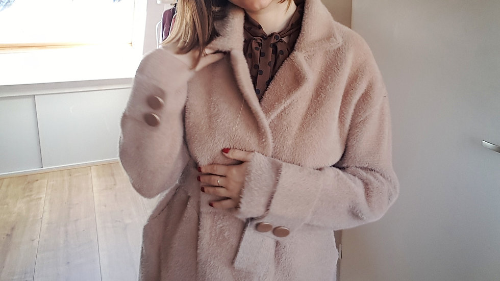 Beige alpaca wool coat