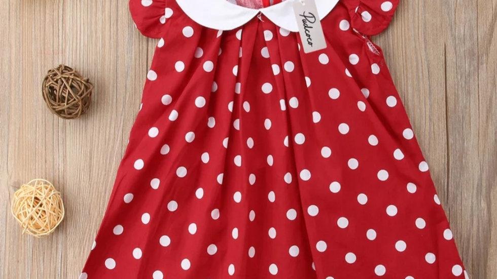 Cotton red dress polka dot