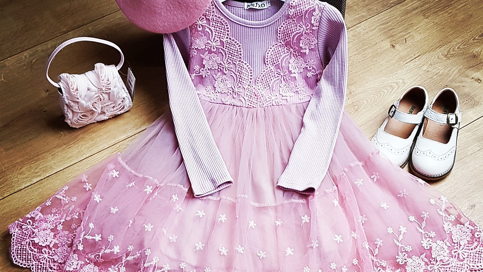 Pink party dress with tulle