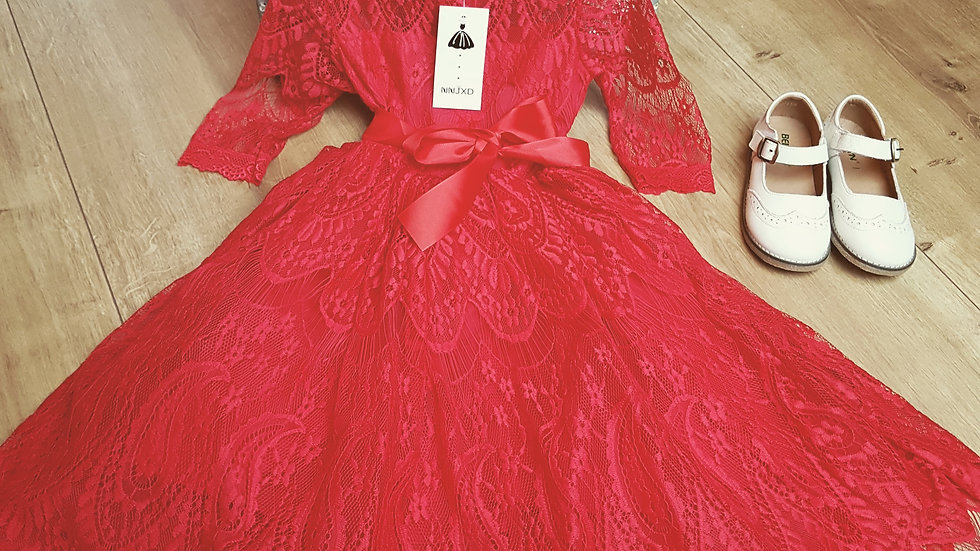 Red retro party dress for girls