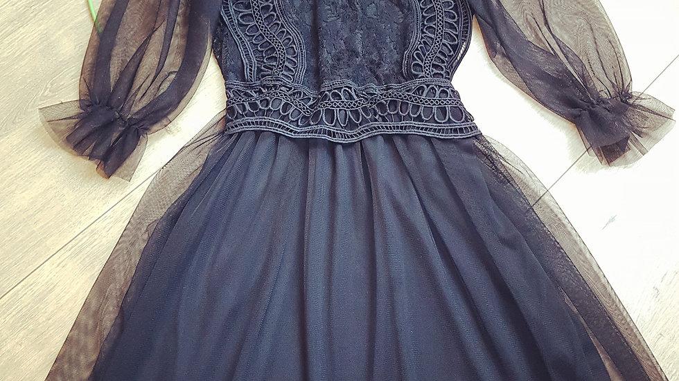 Black boho dress with tulle