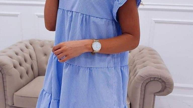 Checked white and blue wide dress
