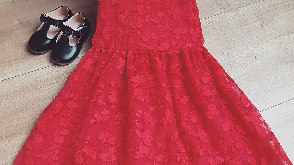 Red, classic party dress