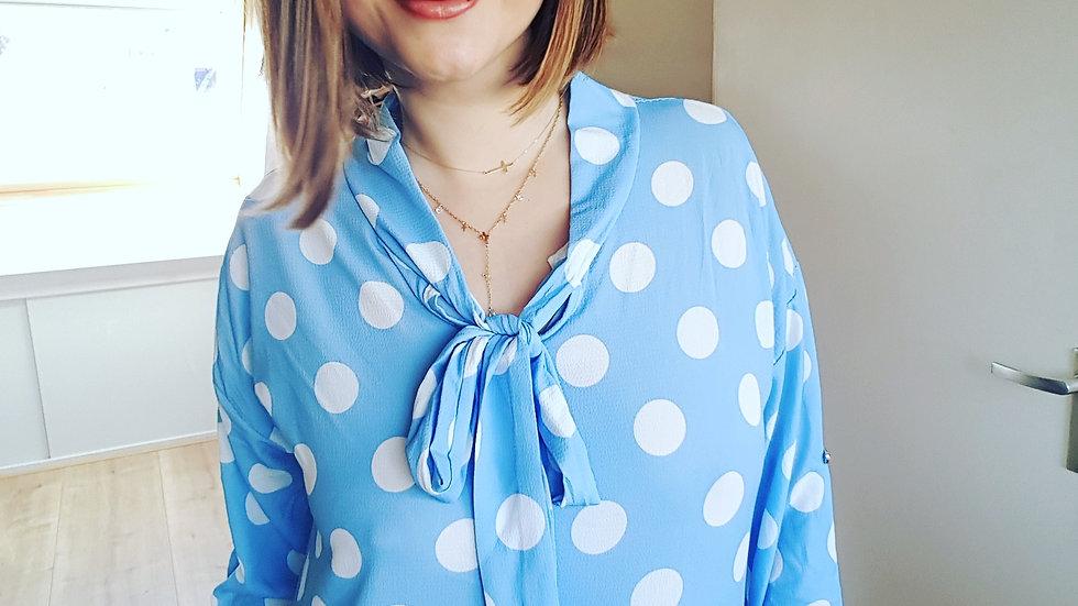Light blue retro dotted shirt