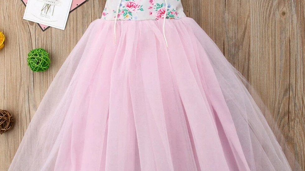Long party dress with pink tulle