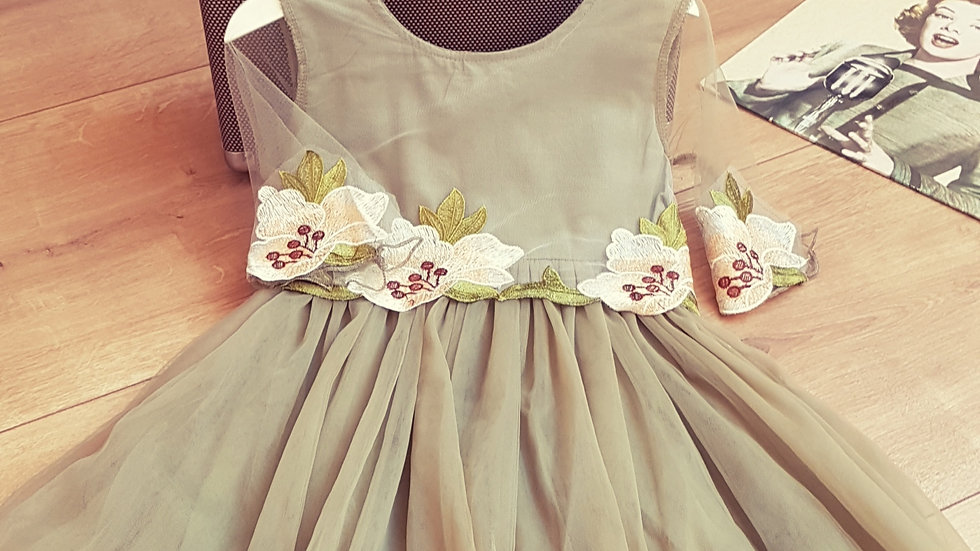 Light green dress with tulle