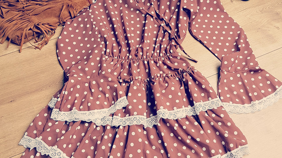 Brown hippie dress with polka dots