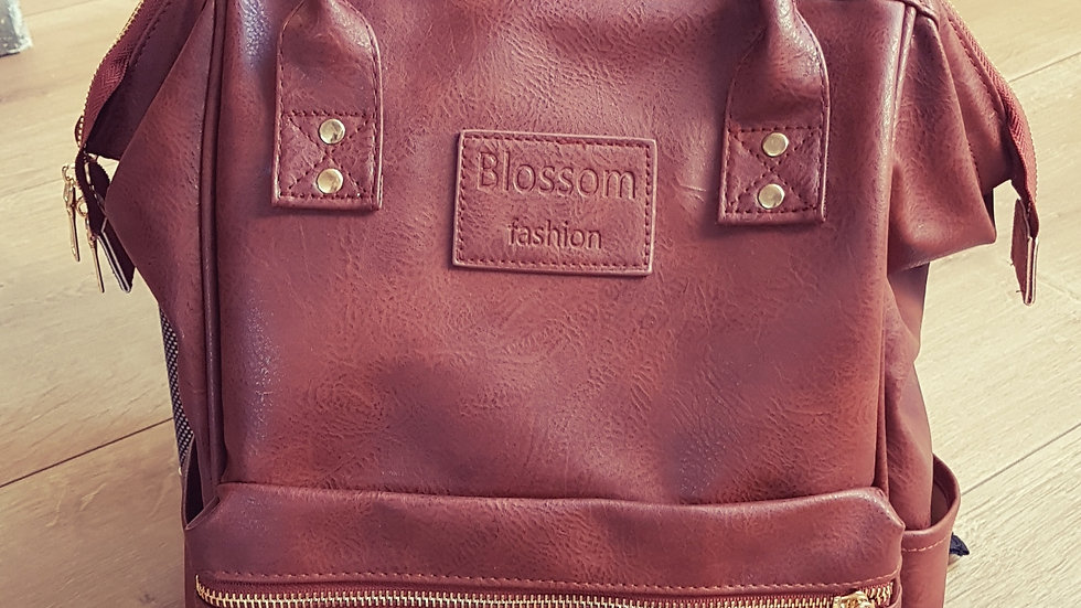 Brown backpack with front pocket