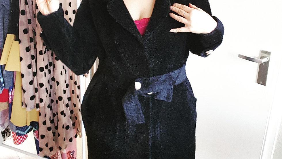 Alpaca wool black coat