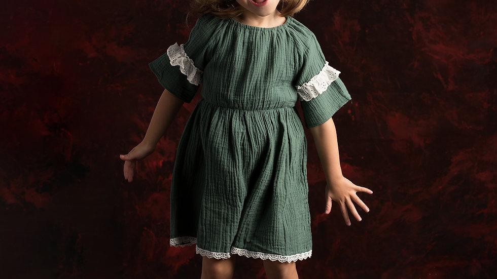 Hippie cotton dress in green