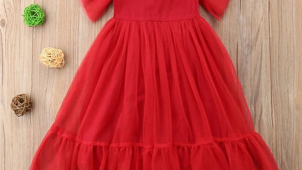 Red party hippie dress with tulle