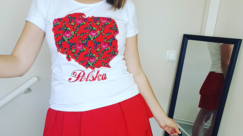 Cotton white t-shirt with Poland map