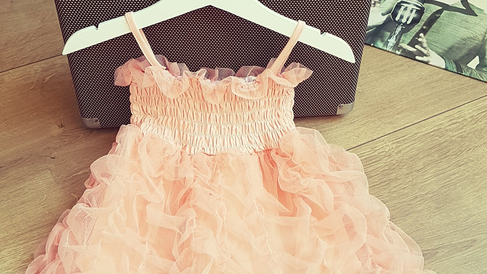 Light orange dress with tulle fir baby girl
