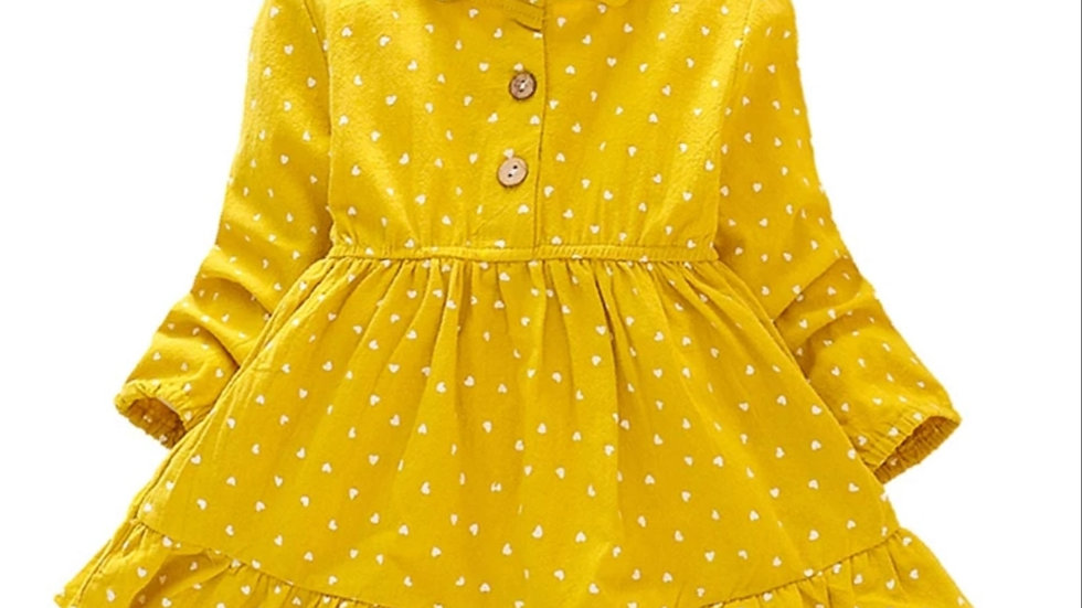 Yellow cotton dress with hearts