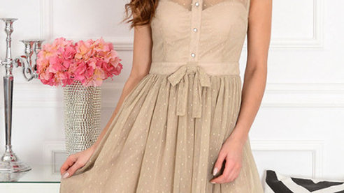 Beige cocktail dress withdotted tulle