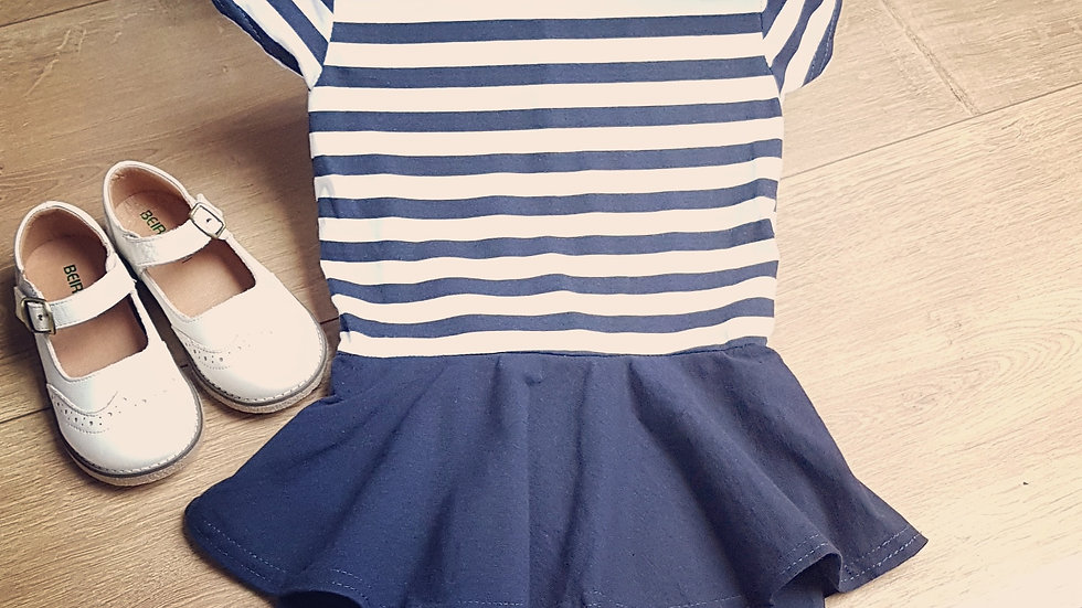 Retro white & blue peplum dress for girls