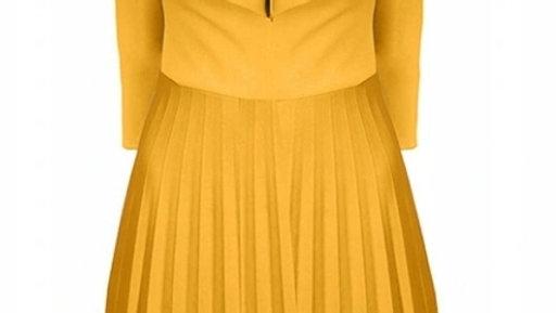 Yellow retro pleated dress
