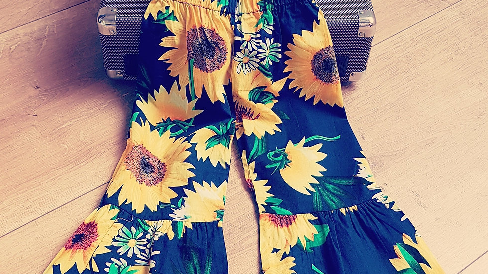Cotton bell bottoms with sunflowers