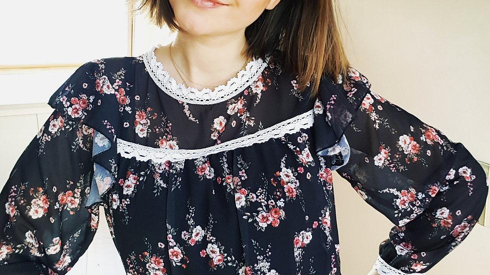 Black floral hippie blouse