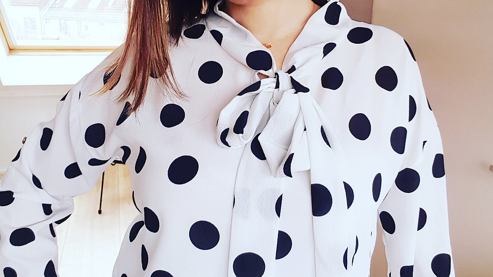White retro dotted shirt from viscoze