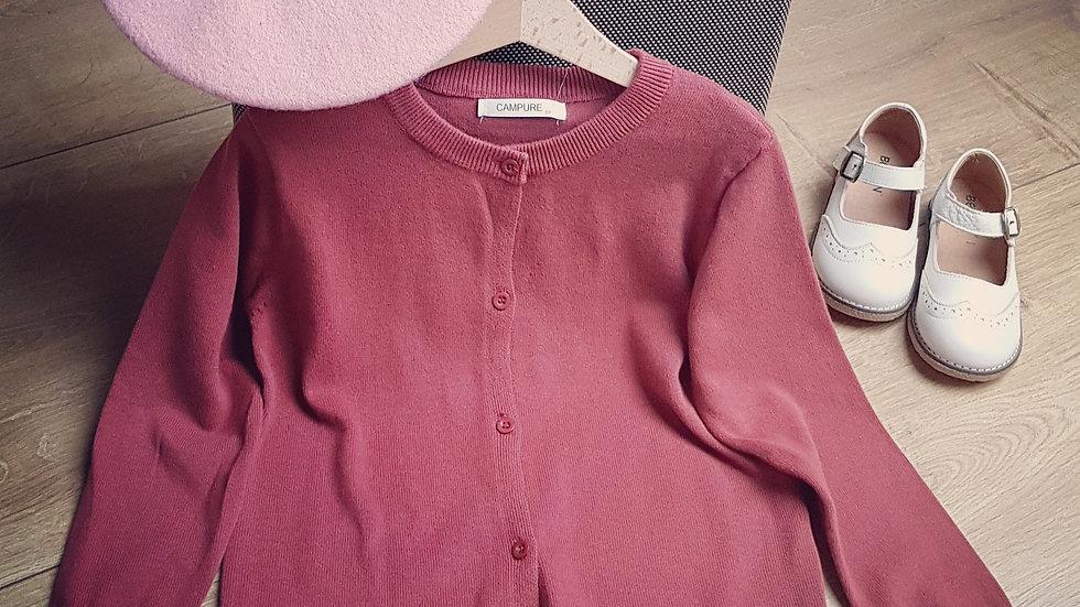 Cotton sweater in dark raspberry colour
