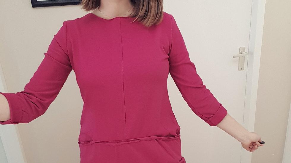 Purple cotton straight dress with pockets