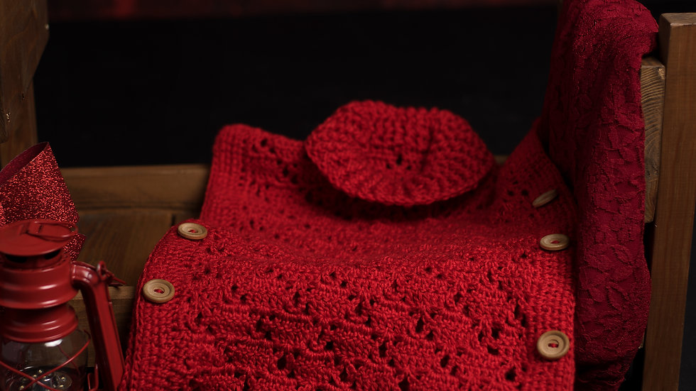 Hand made red poncho with 2 buttons
