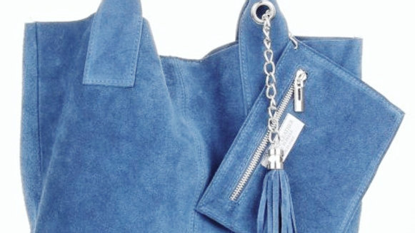 Blue suede bag