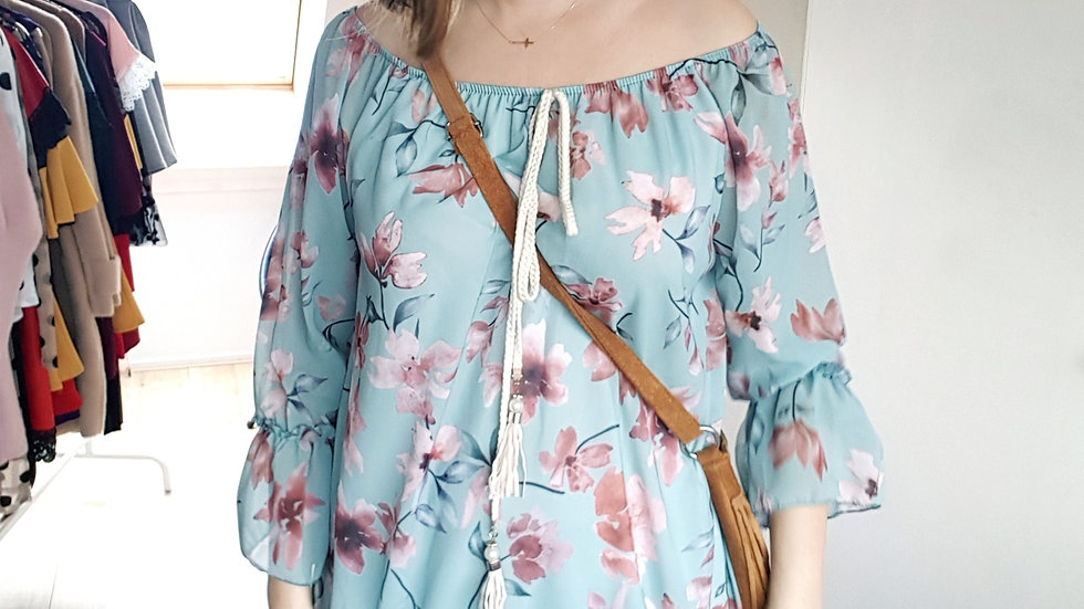 Turquoise floral hippie dress