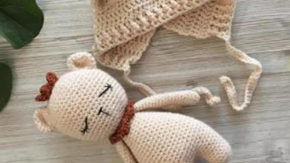 Hand made set: teddy bear & cap