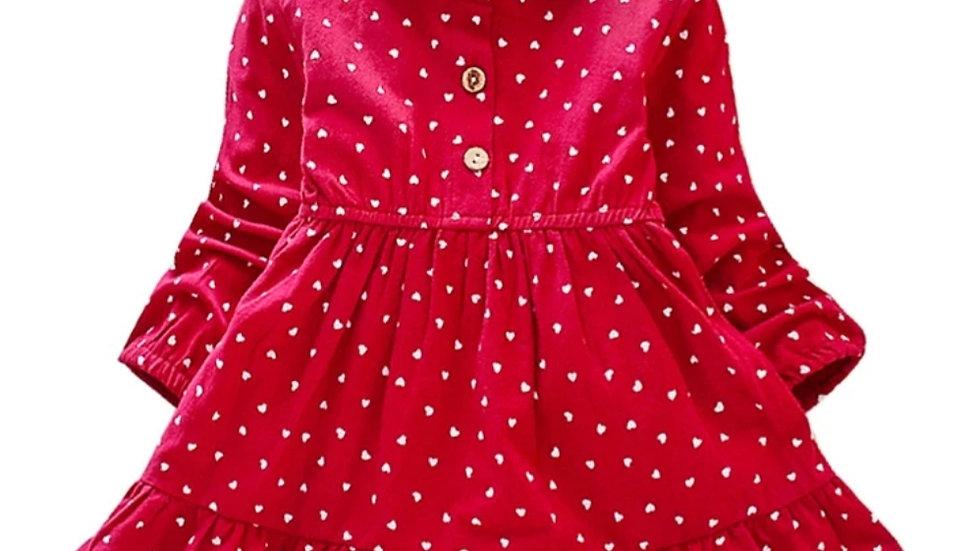 Red cotton dress with hearts