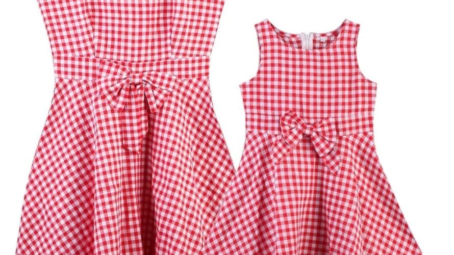 Cotton set of retro dresses white&red